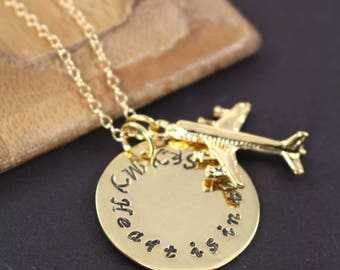 Airplane Necklace Gold , My Heart is in the Sky , Pilot Flight Attendant Jewelry