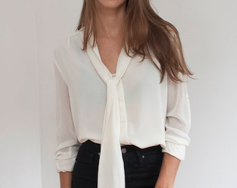 Cream pussy bow blouse - semi sheer layered ascot secretary blouse - M