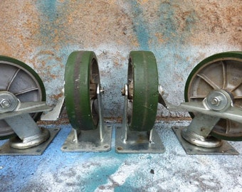 4 Vintage Industrial casters Large Green 8 inch wheels Albion lock bracket mount Furniture - Cart - Swivel head salvage