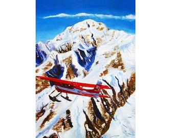 Denali Art Print, K2 Aviation, De Havilland Beaver, Alaska Mountain Landscape, Gift for Pilot, Scott Clendaniel, Alaska Aviation, McKinley