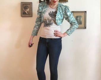 Vintage Turquoise Cropped Jacket