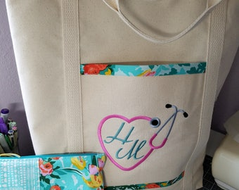 Embroidered Fabric Lined Tote, Nurse Gift, Medical, Stethoscope, Gift, Free Shipping