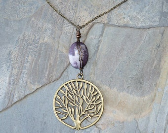 Tree of Life Necklace, Natural Stone Necklace, Lepidolite Necklace, Wire Wrapped Necklace, Purple Necklace, Lavender Necklace, Tree Jewelry