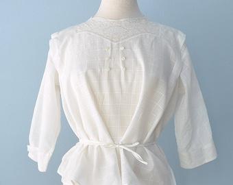 Vintage Edwardian Blouse...Soft White Cotton with Lace Large