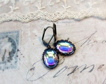 MOVING SALE Peacock Blue Gazing Ball, Vintage Iridescent ,Peacock Blue,Oval Glass Jewel Lace Edged Earrings by Hollywood Hillbilly