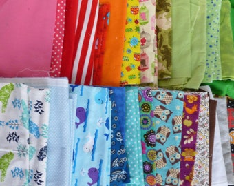 Cotton Snuggle Flannel Fabric Scraps Pieces Remnants Lot Assorted Rainbow Colors Sizes Patterns 6+ Pounds