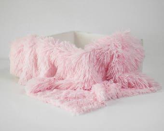 Pink Pelagio Faux Fur Nest Photography Prop Rug Newborn Baby Toddler 27x30