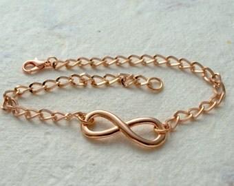 Infinity Ankle Bracelet, Rose Gold Anklet, Rose Gold Infinity, Summer Beach, Festival, Boho, Infinity Bracelet, Wedding, Friendship