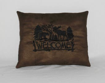 Brown Suede Embroidered Bear and Moose Welcome Pillow, Handmade Pillow, Lodge or Cabin Decor, Rustic Decor