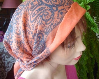 womens headscarf pretied headcover chemo chemotherapy very lightweight viscose summer peach grey