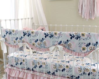 Gray Navy and Pink Baby Girl Bedding Set - Ethereal Lullaby - featuring Bumperless Teething Rail Cover, Crib Sheets, & Tiered Ruffle Skirt
