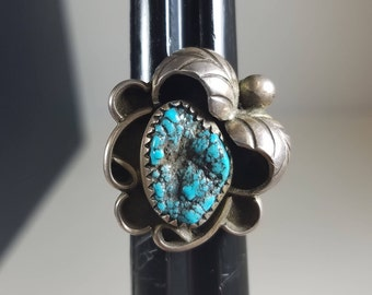 VIntage Native American Sterling Silver and Turquoise Ring Size 6 Southwest 1970's