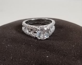 """Alfred Durante """"One Love"""" 925 Sterling Silver White Topaz Ring Size 6 Bradford Exchange"""