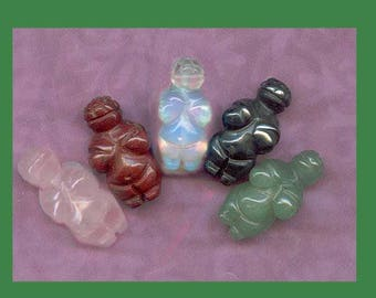 5 Venus of Villendorf Goddess Beads ancient carving of the female figure - Willendorf Goddess