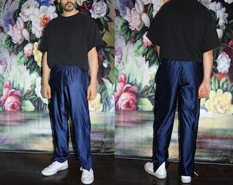 Vintage 90s Nike Hip Hop Warm Up Shiny Blue Tearaway Track Pants - 1990s Nike Workout Pants - 90s Clothing - MV0564