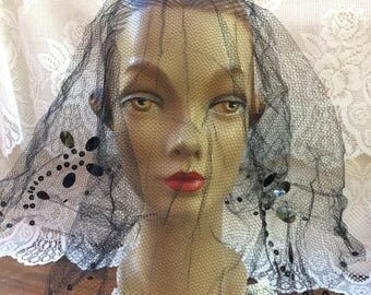Vintage 1930s 1940s Head Veiling Black Netting With Sequins Wear With Or Without A Hat Millinery Mourning Church