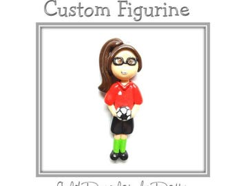 Custom Soccer Player Ornament, Pendant, Purse Charm, Magnet, Brooch, Bow Center, Personalized Cold Porcelain Clay Girl Figurine, Necklace