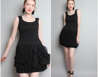 1990's Black Mini Dress / Ruffle Dress / Small