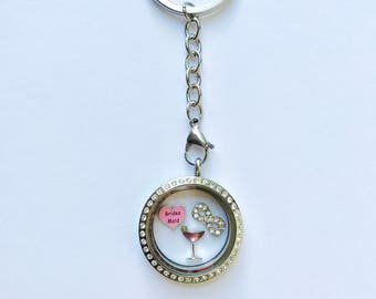 Floating charm locket key chain for bridesmaid, stainless steel memory locket key ring, keepsake bridesmaid gift, you choose charms from pic