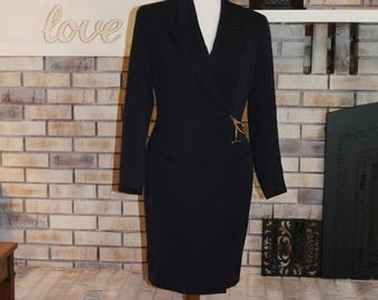 Vintage Tahari Suit Dress, Fitted Dress, Suit Coat, 1990's, Shoulder Pads, Working Woman