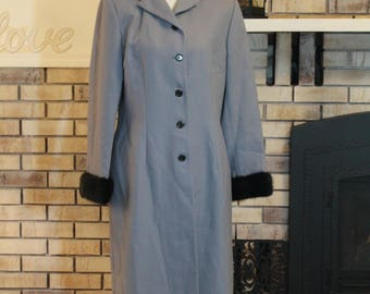 Vintage Harve Bernard Gray Trench Coat, Fur Coat, Jacket, Dress Coat, Wool Coat