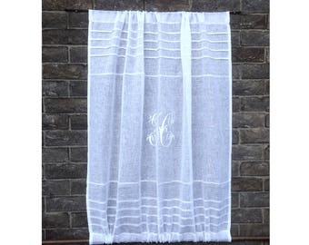 Cupboard Panel, White Sheer Linen Panel, Rod Pockets Top and Bottom, Monogram Linen Curtain, Sidelight Curtain, French Door Curtain