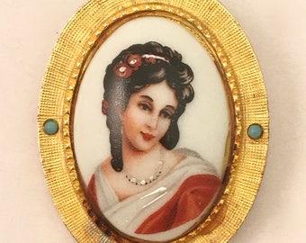 Hattie Carnegie Vintage Jewelry French Limoges Portrait Brooch Pin