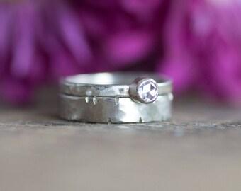 14k White Gold Diamond Rustic Engagement Wedding Ring Set Unique Bridal Set Hammered Ring Women's Wedding Ring Wabi-Sabi Diamond Ring Unique