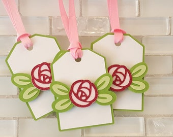 Little Rink Roses Hang Tags in Dark Pink, White and Green for Birthday or Baby Shower