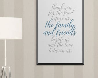 THANKSGIVING Art, Inspirational Wall Art, Family Prayer Sign, Dining Room  Art, Inspirational
