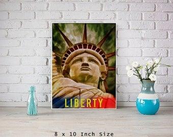 Statue of Liberty 8x10 Art Print American Wall Art USA Patriotic Gift Famous Landmarks American History