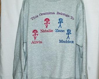 Gramma Belongs To Four Kids Sweatshirt, Custom With Name, Nannie, Grams, Nonny, Grammy, Mo, Mimi, Meme, GG, Nemaw, Ships Today, AGFT 859