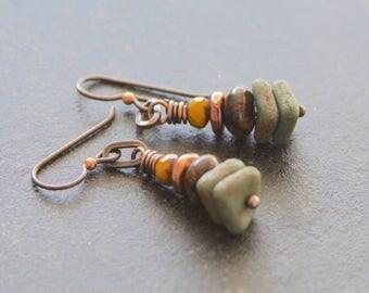Earthy Stacked Czech Glass Dangle Earrings, Olive Green Yellow Earrings