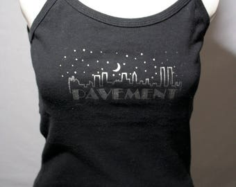 90's Pavement - City skyline black cropped tank top indie rock Stephen Malkmus Mark Ibold shirt - women's XXS-S