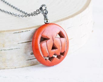 Jack O Lantern Necklace, Pumpkin Necklace on Gunmetal Chain, Orange Stone Pendant, Halloween Jewelry