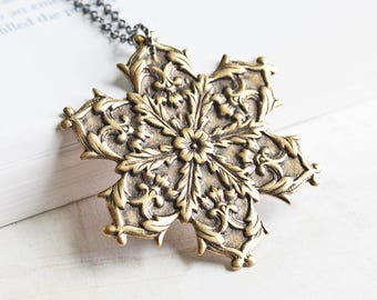Large Antiqued Brass Snowflake Pendant Necklace on Gunmetal Chain