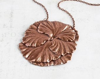 Very Large Antiqued Copper Plated Pansy Flower Necklace
