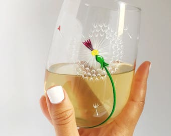 Dandelion and Heart Hand Painted Wine Glass