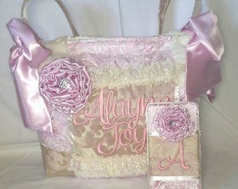 Custom American Handmade Vintage Style Diaper Bag Blush Pink Matching Wipe Case Lace Ruffles Satin Bedazzled Large Bows Pockets Jacquard