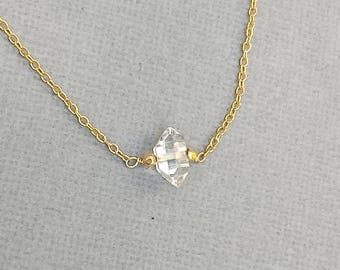 Single Herkimer Diamond Necklace, Single Stone, Clear Stone, Gold Chain, Silver Chain,  Raw Stone, Stone Necklace, Stone Pendant, Modern
