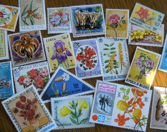 20 Vintage FLOWER Postage Stamps for crafting collage altered art journals scrapbooks philately commemorative stamps b4