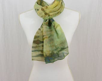 Hand Painted Chiffon Silk Scarf, Greens, Earthy, Hippie, Festival Clothing, Mori Girl, Abstract Scarf, OOAK, Gift for her, Artsy