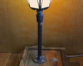 Handcrafted Industrial Stained Glass Lamp with Salvaged Wood Base