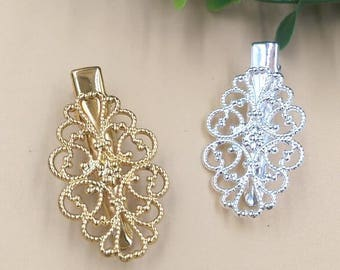 20 Brass Alligator Hair Clips W/ 22x32mm Filigree Floral Antique Bronze/ Silver/ Gold Plated- Z9108