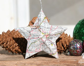 Raleigh, Durham, Chapel Hill, North Carolina - Vintage Map Covered Star Ornament - NC, Home Decor, East Coast, Christmas, Tree, Map Ornament