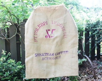 Vintage Burlap Coffee Bag, Pt. Vol. Kopi Indonesian, Sumatran Coffee, Heavy Weight Jute Woven Indonesia Coffee bag,