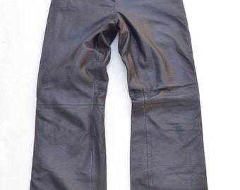 "Vintage Black 100% Real Leather ""Court One"" GERRY WEBER Zip Fly Bootcut Ladies Women's Jeans Pants Size W 25 L 30 Festival / Biker / Rock"
