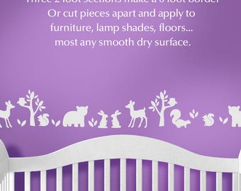 Baby Nursery Woodland Animals Decal Border Wall Decor, Woodland Nursery Decor, Nature Decor Wall Decal (shown on Violet wall) [018bN]