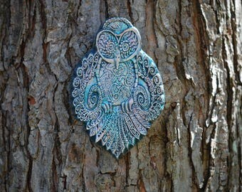 Psychic Owl Wall Art, Stone Garden Art Sculpture, Outdoor Wall Art, Garden Art, Owl Wall Plaque