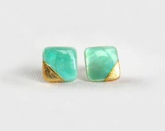 Turquoise Earrings Teal Sea Foam Studs Tiny Mint Earrings Tiny Mint Studs Small Aqua Green Earrings Sea Foam Earrings Mint Jewelry Turquoise